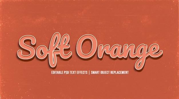 Efecto de estilo de texto 3d naranja suave