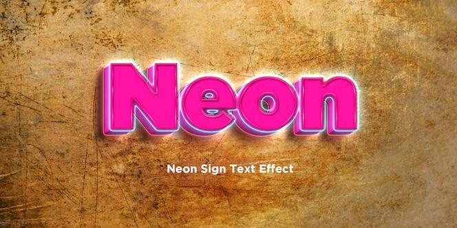 Efecto de estilo de texto 3d de neón