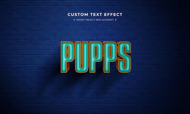 Efecto de estilo de texto en 3d de película de animación