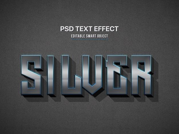 Efecto de estilo de texto 3d plateado