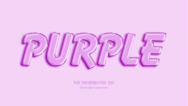 Efecto de estilo de texto 3d púrpura