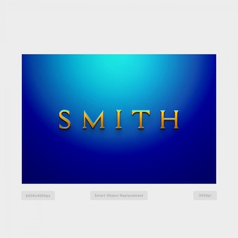 Efecto de estilo de texto 3d smith con pared azul radial