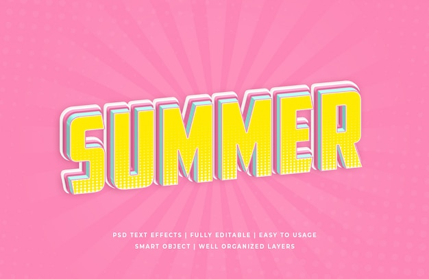 Efecto de estilo de texto 3d de verano