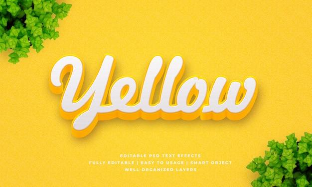 Efecto de estilo de texto amarillo 3d