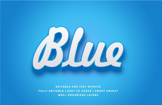 Efecto de estilo de texto azul 3d