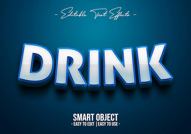 Efecto de estilo de texto de bebida 3d
