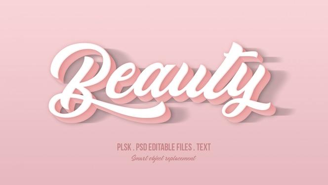 Efecto de estilo de texto de belleza 3d