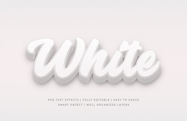 Efecto de estilo de texto en blanco 3d