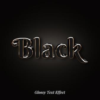 Efecto de estilo de texto brillante elegante negro 3d