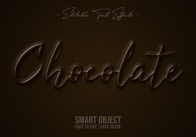 Efecto de estilo de texto de chocolate