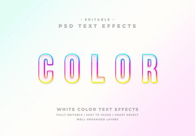 Efecto de estilo de texto de color blanco editable