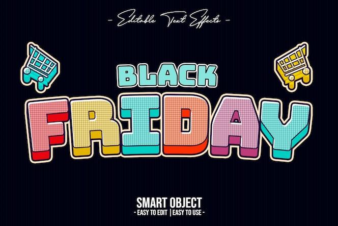 Efecto de estilo de texto de color de viernes negro