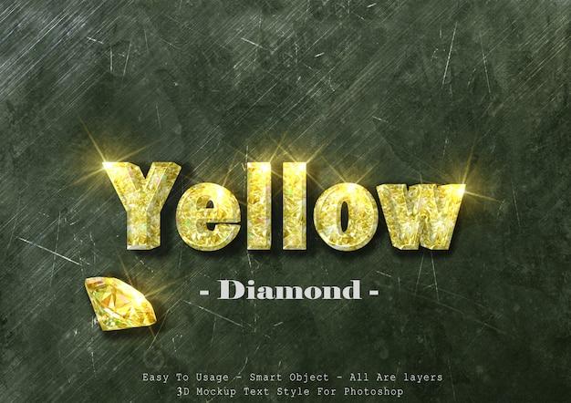 Efecto de estilo de texto de diamante amarillo 3d