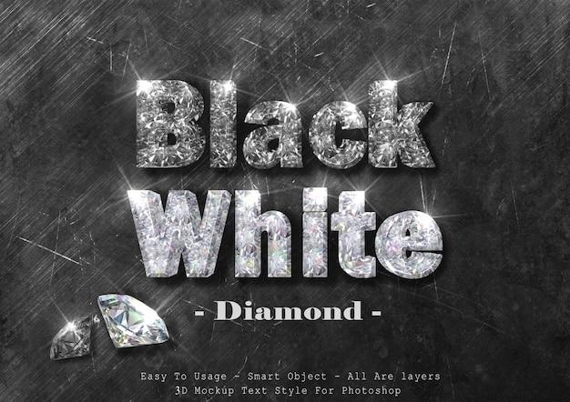 Efecto de estilo de texto de diamante blanco y negro 3d