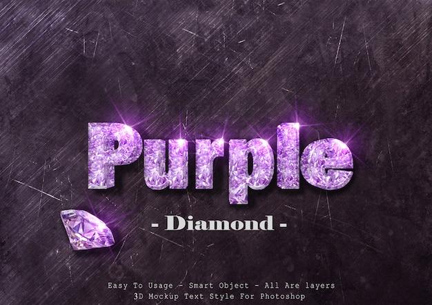 Efecto de estilo de texto de diamante púrpura 3d