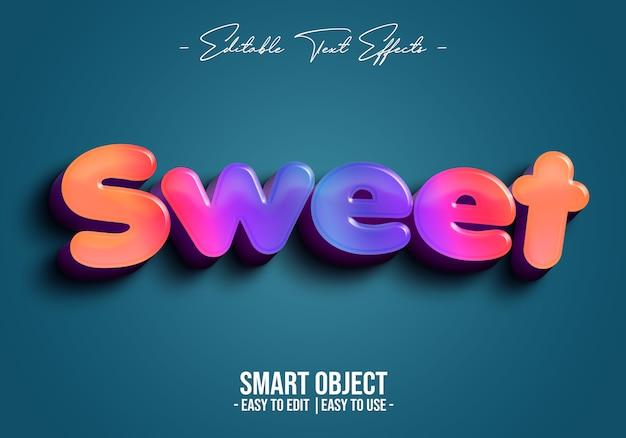 Efecto de estilo de texto dulce 3d