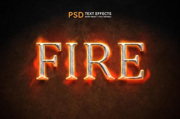 Efecto de estilo de texto de fuego