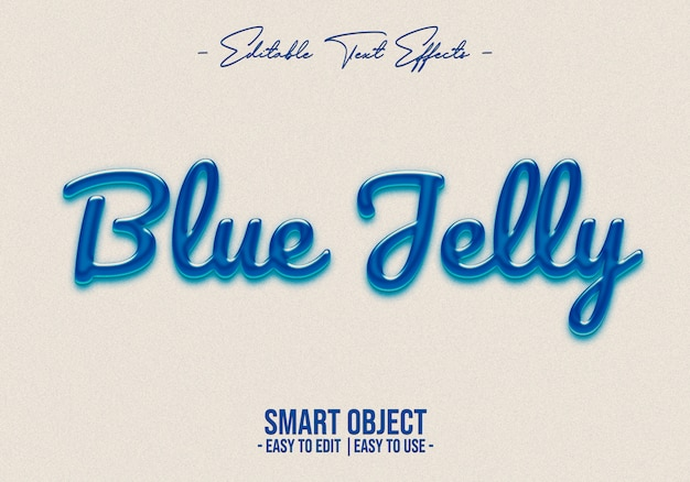 Efecto de estilo de texto de gelatina azul