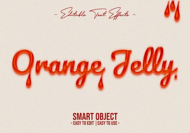 Efecto de estilo de texto de gelatina de naranja