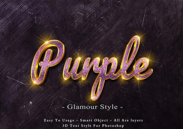 Efecto de estilo de texto de glamour púrpura 3d