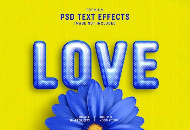 Efecto de estilo de texto de globo de san valentín azul sobre amarillo