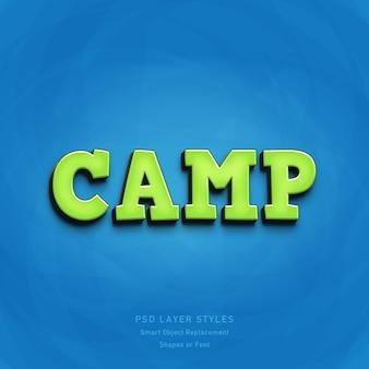 Efecto de estilo de texto de green camp