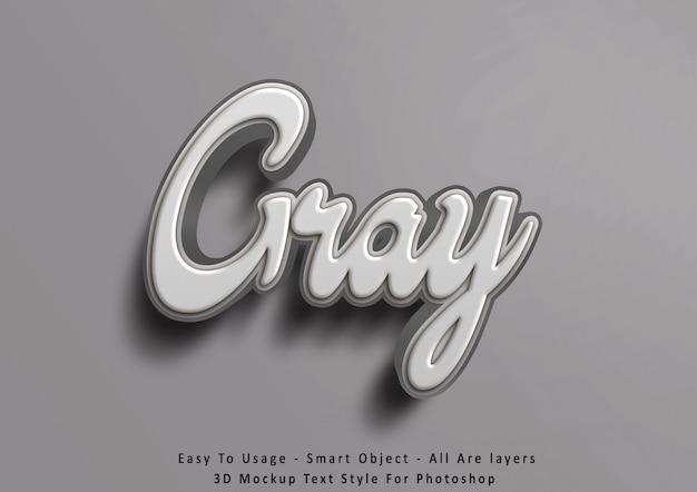 Efecto de estilo de texto gris maqueta 3d