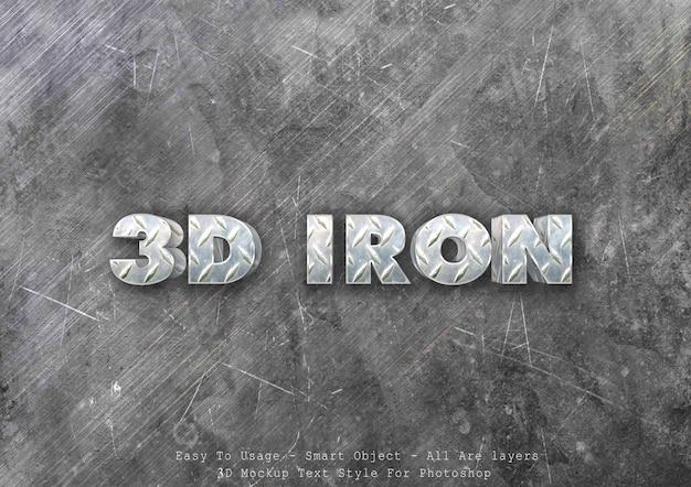 Efecto de estilo de texto de hierro 3d