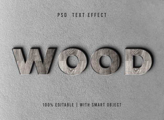 Efecto de estilo de texto de madera en relieve