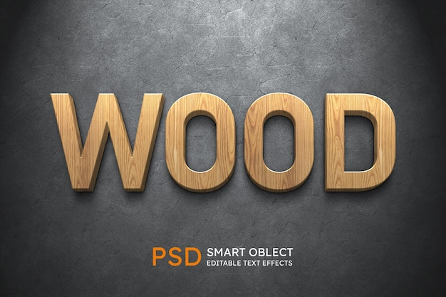Efecto de estilo de texto de madera