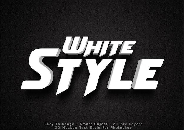 Efecto de estilo de texto de maqueta blanca 3d