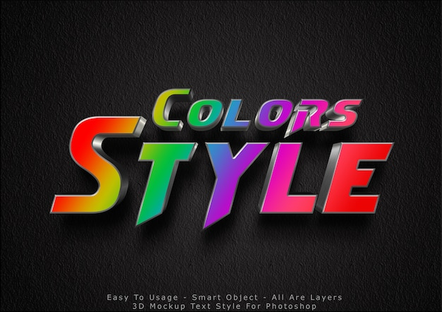 Efecto de estilo de texto de maqueta de colores 3d
