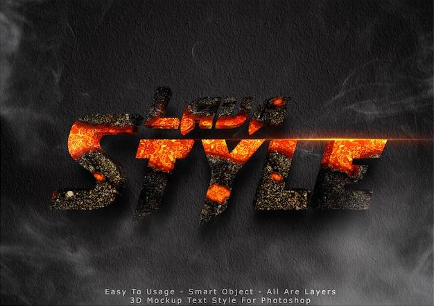 Efecto de estilo de texto de maqueta de lava 3d