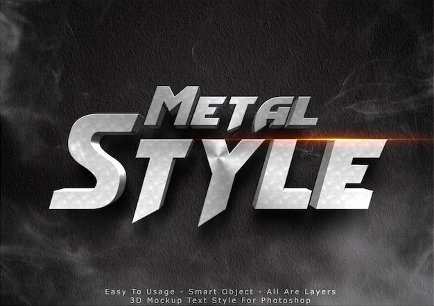 Efecto de estilo de texto de maqueta de metal 3d