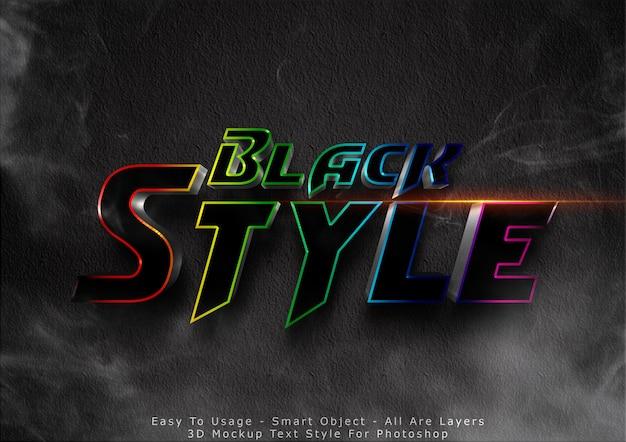 Efecto de estilo de texto de maqueta negra 3d