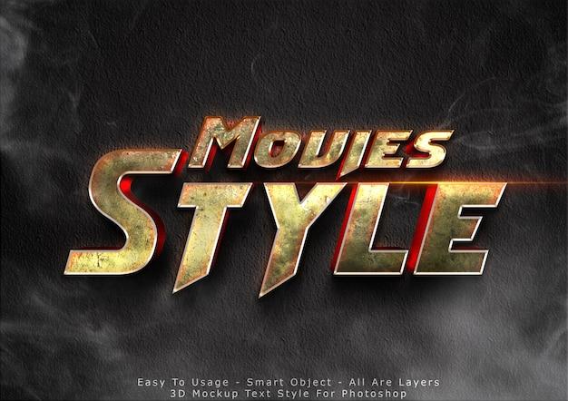 Efecto de estilo de texto de maqueta de películas en 3d