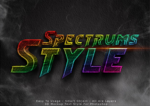 Efecto de estilo de texto de maqueta de spektrum 3d