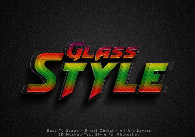Efecto de estilo de texto de maqueta de vidrio 3d