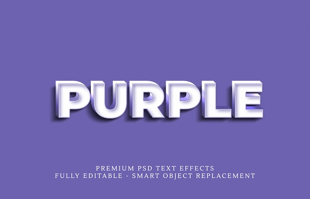 Efecto de estilo de texto morado psd, efectos de texto psd premium