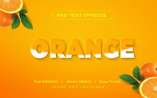 Efecto de estilo de texto naranja maqueta 3d