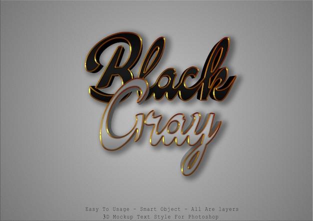 Efecto de estilo de texto negro y gris 3d