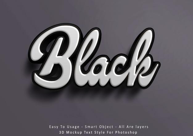 Efecto de estilo de texto negro maqueta 3d