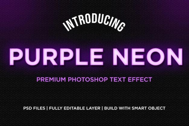 Efecto de estilo de texto de neón púrpura