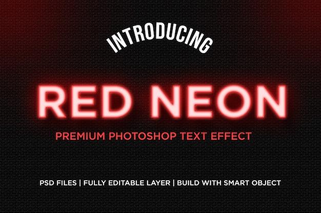 Efecto de estilo de texto de neón rojo