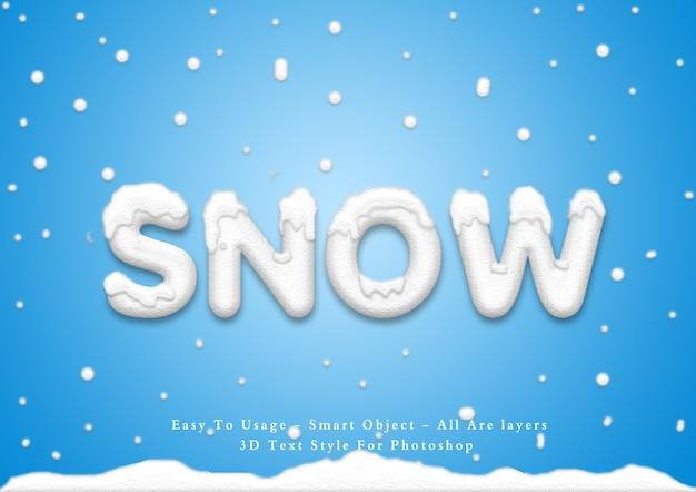 Efecto de estilo de texto de nieve 3d