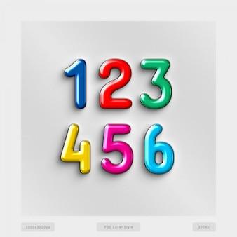 Efecto de estilo de texto de números