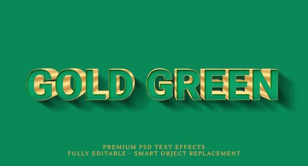 Efecto de estilo de texto de oro verde