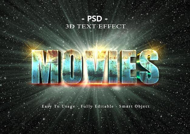 Efecto de estilo de texto de películas 3d