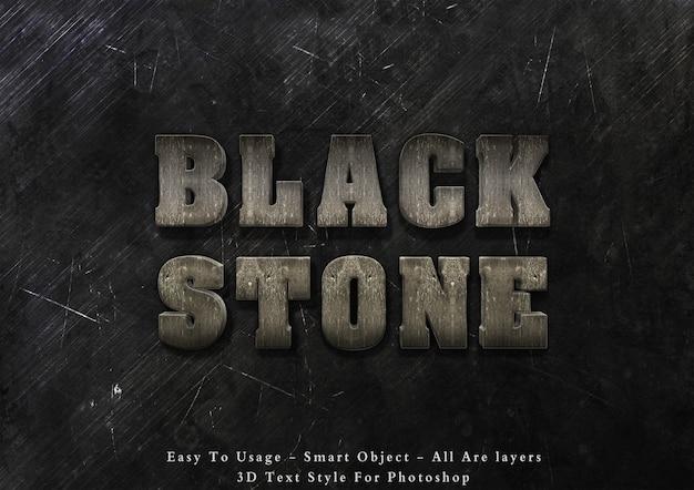 Efecto de estilo de texto de piedra negra 3d
