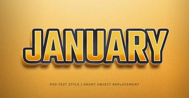 Efecto de estilo de texto con plantilla de celebración de enero